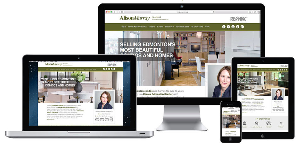 Custom responsive Realtor Website for Alison Murray, Edmonton Realtor